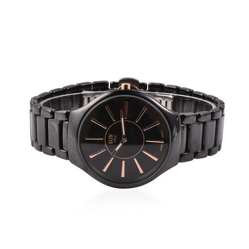 EON 1962  3ATM Water Resistant Watch in Stainless Steel with Black Ceramic Chain Strap and Butterfly Buckle