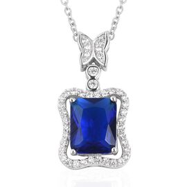 Simulated Blue Sapphire and Simulated Diamond Pendant With Chain in Silver Tone