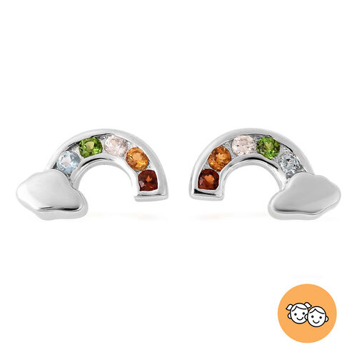 Rainbow Earrings for Kids with Multi Gemstone in Sterling Silver
