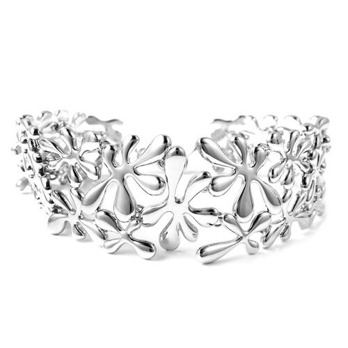 LucyQ Splash Bracelet (Size 7.5) in Rhodium Overlay Sterling Silver, Silver wt 42.06 Gms