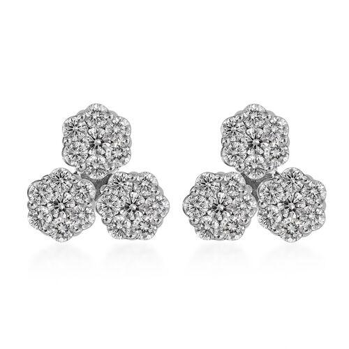 0.50 Ct Diamond Pressure Set Floral Stud Earrings in 9K White Gold SGL Certified I3 GH