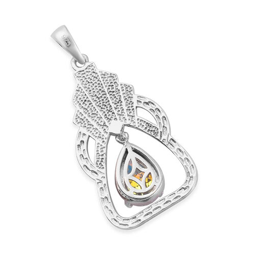 Mercury Mystic Topaz Pendant in Platinum Overlay Sterling Silver 1.50 Ct
