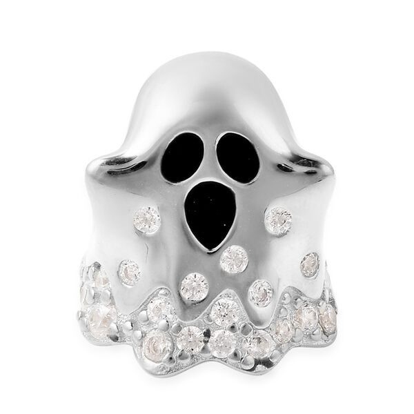 Charmes De Memoire - Simulated Diamond Ghost Charm in Rhodium Overlay Sterling Silver Charm/Pendant