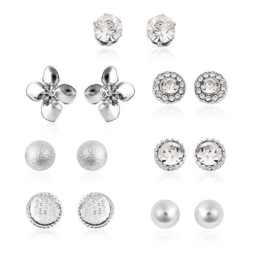 9 Pair of Earring - White Austrian Crystal Earrings in Silver Plated