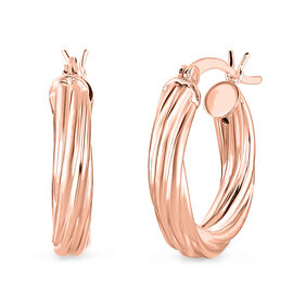 Twisted Hoop Earrings in Rose Gold Plated Sterling Silver