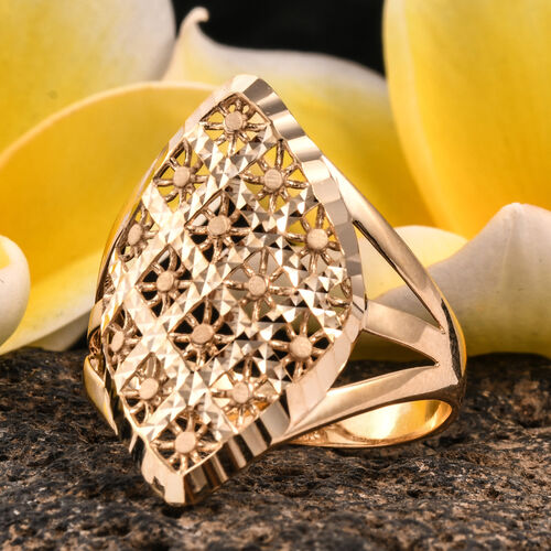 Royal Bali Collection 9K Yellow Gold Diamond Cut Checker Pattern Ring, Gold wt 2.52 Gms