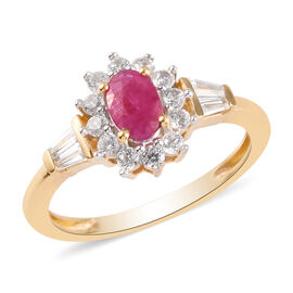 Burmese Ruby and Natural Cambodian Zircon Ring in 14K Gold Overlay Sterling Silver 1.47 Ct.