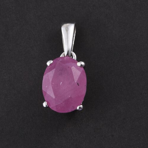 Hot Pink Sapphire (Ovl) Solitaire Pendant in Platinum Overlay Sterling Silver 2.500 Ct.