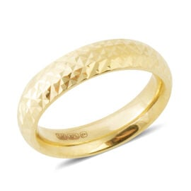 Designer Inspired- 9K Yellow Gold Diamond Cut Band Ring, Gold wt 1.72 Gms.