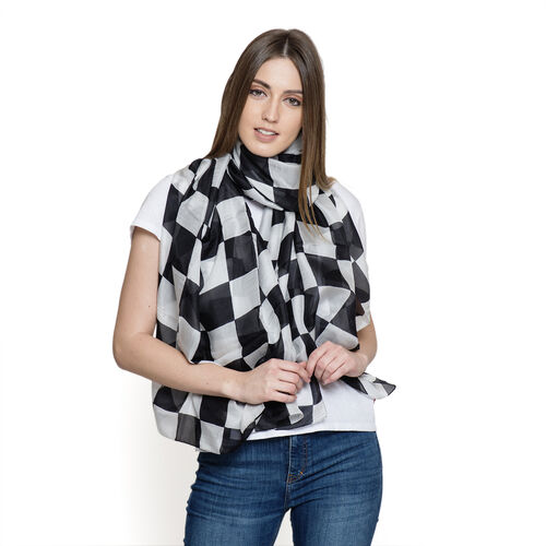 100% Mulberry Silk Black, White and Grey Colour Square Pattern Scarf (Size 180x100 Cm)
