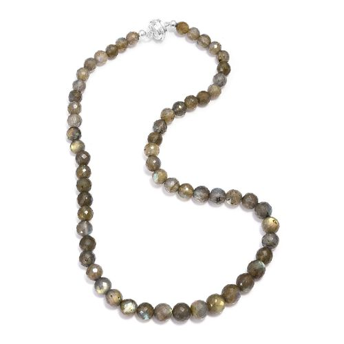 190 Ct Labradorite Beaded Necklace in Sterling Silver Size 18 Inch