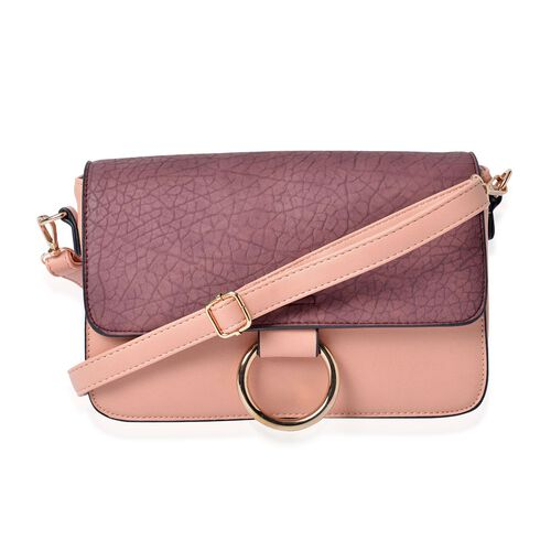 Stella Wine and Pink Colour Crossbody Bag with Adjustable and Removable Shoulder Strap (Size 27.5x18