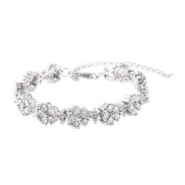J Francis White Crystal from Swarovski Floral Bracelet in Silver Tone 8 Inch