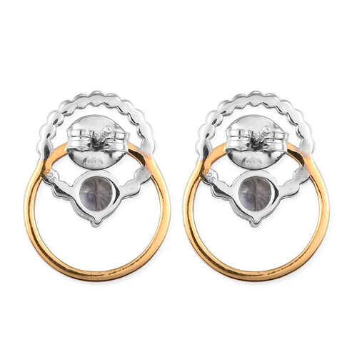 Natural Cambodian Zircon Earrings (with Push Back) in Yellow Gold and Platinum Overlay Sterling Silver 1.25 Ct.
