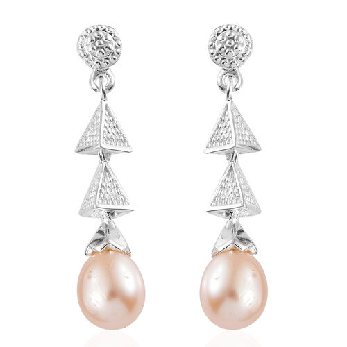 Fresh Water Pink Pearl Drop Dangle Earrings with Push Back in Sterling Silver 8.50 Ct., Silver wt 3.45 Gms