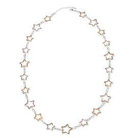 Star Station Necklace (Size 43 with 3 inch Extender) in Tri Tone