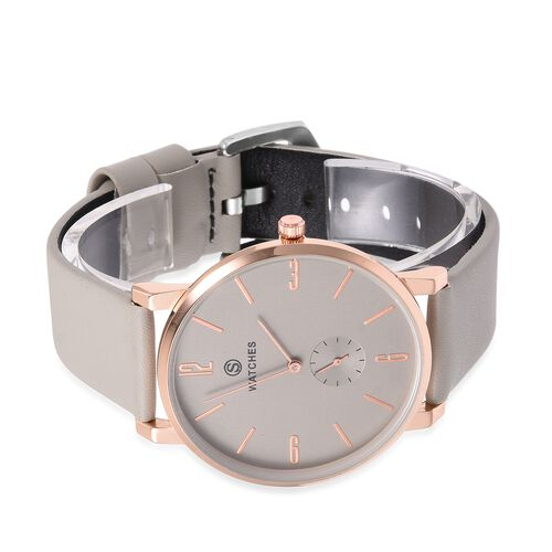 STRADA Rose Gold and Silver Colour Plated Water Resistant Watch with Grey Colour Literal and Strap.