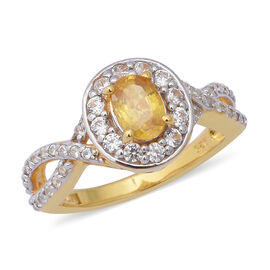 2.25 Ct Yellow Sapphire and Zircon Halo Ring in Gold Plated Sterling Silver 4.35 Grams