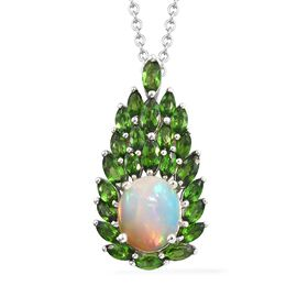 GP Ethiopian Welo Opal (Ovl 10x8 mm), Russian Diopside, Blue Sapphire Pendant With Chain (Size 18) i