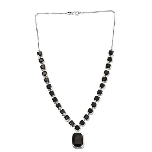 Elite Shungite (Cush 9.20 Ct) Necklace (Size 18) in Platinum Overlay Sterling Silver 24.75 Ct, Silver wt 22.50 Gms