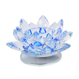 2 Piece Set Rotating Crystal Lotus Candle Holder (Size 12x6.5 Cm) Colour Blue