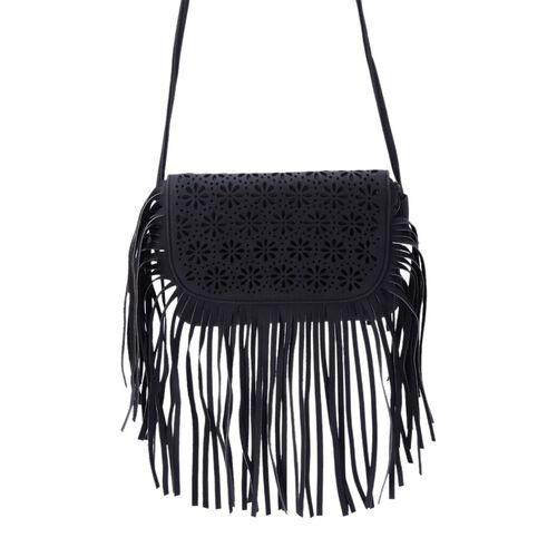 Laser Cut Floral Pattern Black Colour Crossbody Bag with Fringes (Size 19.5x17 Cm)