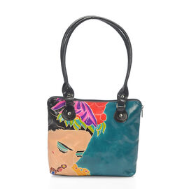 100% Genuine Leather Turquoise Colour Handpainted Frida Khalo Pattern Shoulder Bag with External Zipper Pocket (Size 30.5x23x6.5 Cm)