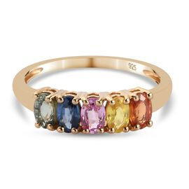 Multi gemstones Ring in 14K Gold Overlay Sterling Silver 1.25 ct  1.250  Ct.