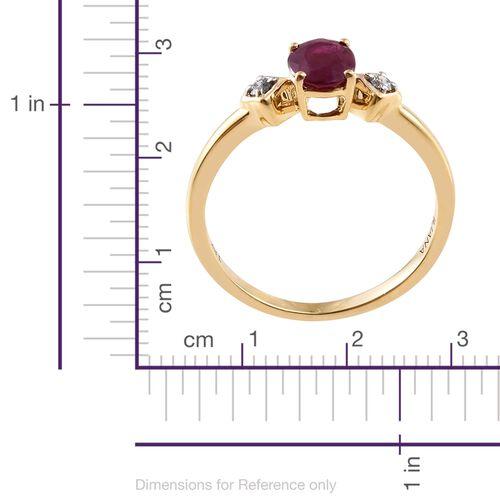 ILIANA 18K Yellow Gold 1.15 Ct AAAA Pigeon Blood Burmese Ruby and Diamond (SI/G-H) Ring