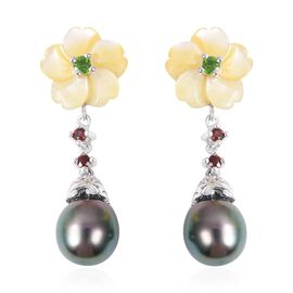20.88 Ct Tahitian Pearl and Multi Gemstones Drop Earrings in Rhodium Plated Sterling Silver 4.3 Gram