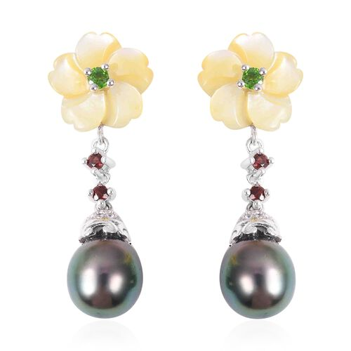 20.88 Ct Tahitian Pearl and Multi Gemstones Drop Earrings in Sterling Silver 4.3 Grams