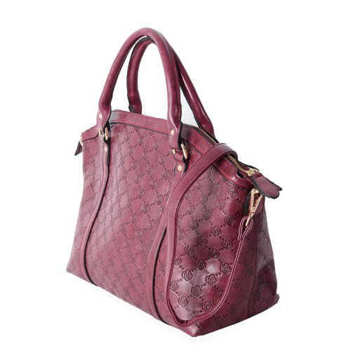 Designer Inspired- Berry  Colour Rose Embossed  Tote Bag with Removable Shoulder Strap (Size 41x31.5x26x15 Cm)