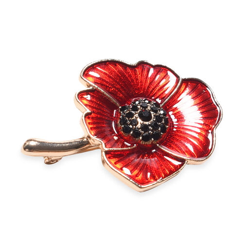 TJC Poppy Design - Black Austrian Crystal Enamelled Brooch and Pendant with Chain (Size 24) in Yellow Gold Tone