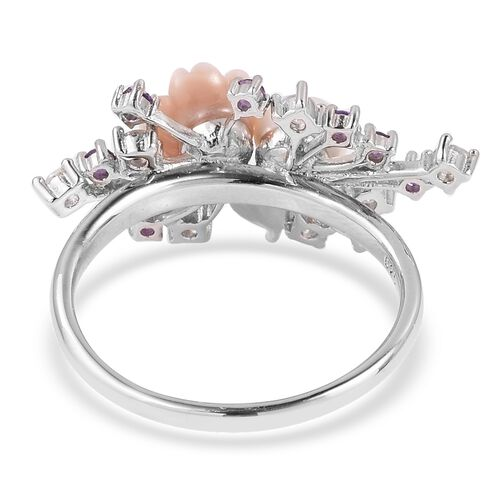 JARDIN COLLECTION - Freshwater White Pearl, Pink Mother of Pearl, Amethyst and Multi Gemstone Enameled Floral Ring in Rhodium Overlay Sterling Silver