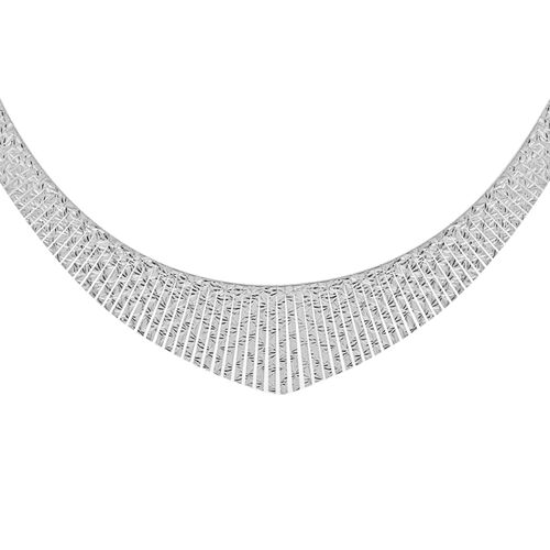 Vicenza Collection Rhodium Plated Sterling Silver Cleopatra Necklace (Size 17), Silver wt 32.84 Gms.