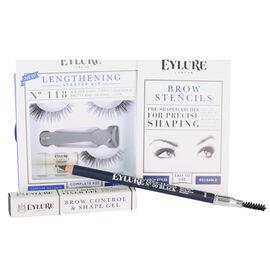 Day Eye Kit, Lengthening Lashes 118, Brow Stencils, Brow Gel, Brow Pencil Black