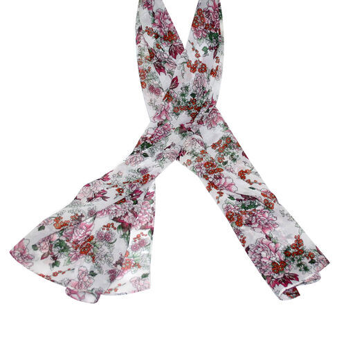 SUGARCRISP Chiffon White and Multi Colour Floral Printed Scarf (152x45cm)