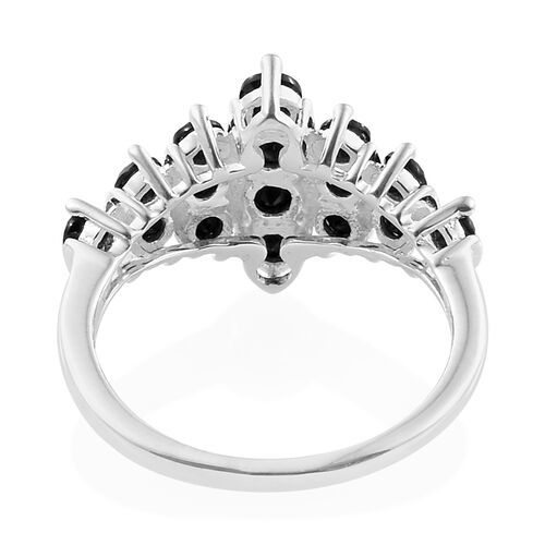 Boi Ploi Black Spinel (Rnd) Cluster Ring in Sterling Silver 1.500 Ct.