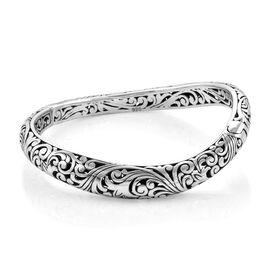 Bali Legacy Filigree Curved Bangle in Sterling Silver 36.50 Grams 7 Inch