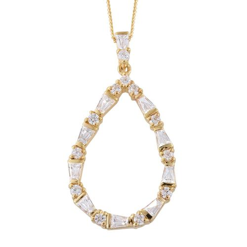 J Francis - 14K Gold Overlay Sterling Silver (Rnd and Bgt) Pendant With Chain Made with SWAROVSKI ZIRCONIA