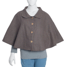Woollen Brown Check Cape with  Peter Pen Collar and Wooden Buttons One Size