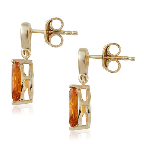 9K Yellow Gold AA Citrine (Mrq), Diamond Earrings (with Push Back) 1.400 Ct.