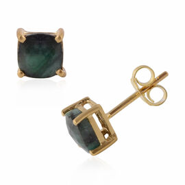 Brazilian Emerald (Cush) Stud Earrings in Yellow Gold Overlay Sterling Silver 1.900 Ct.