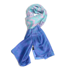 100% Mulberry Silk Blue, Pink and Multi Colour Printed Scarf (Size 180x100 Cm)