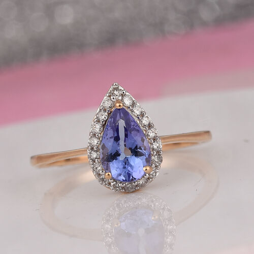 9K Yellow Gold Tanzanite and Diamond Ring 1.00 Ct.