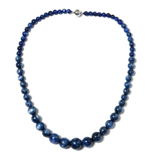 Rare Size Himalayan Kyanite (Rnd 5-15mm) Necklace (Size 20) with Magnetic Clasp in Rhodium Plated Sterling Silver 363.000 Ct.