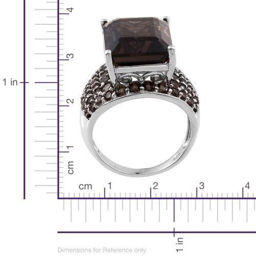 Brazilian Smoky Quartz (Oct 13.50 Ct) Ring in Platinum Overlay Sterling Silver 17.000 Ct.