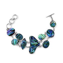 Royal Bali Collection - Abalone Shell Bracelet (Size 6.5 and 1 inch Extender) in Sterling Silver, Silver wt 16.00 Gms.