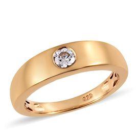 J Francis - 14K Gold Overlay Sterling Silver (Rnd) Ring Made with SWAROVSKI ZIRCONIA