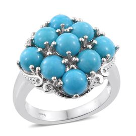 Arizona Sleeping Beauty Turquoise (Rnd) Ring in Platinum Overlay Sterling Silver 3.750 Ct.